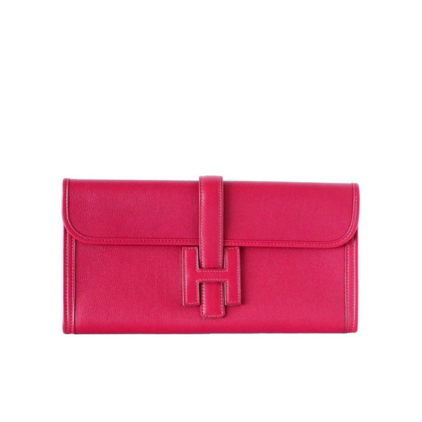 Hermes Jige Elan Clutch Bag Rubis Red Swift Leather
