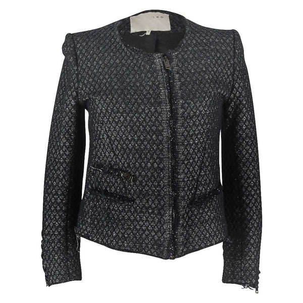 IRO Black Metallic Front Zipper Raw Edges 2 / M Jacket
