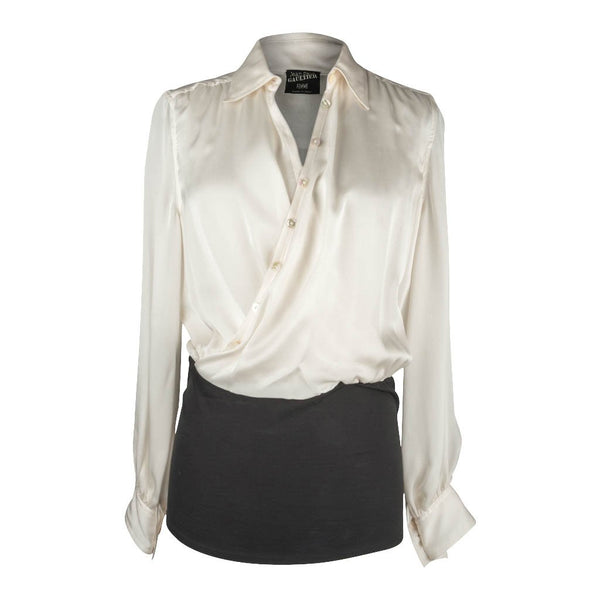 Jean Paul Gaultier Top White Faux Wrap Top Black Stretch at Hip Unique Design 44 / 10 - mightychic