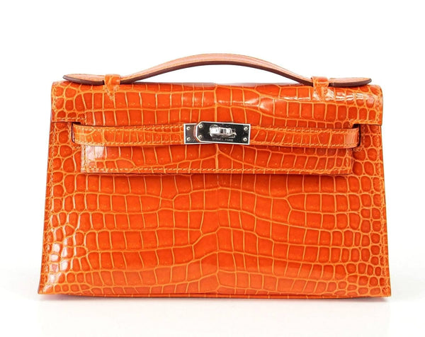 Hermes Kelly Pochette Clutch Bag Orange Feu Rare in Porosus Crocodile