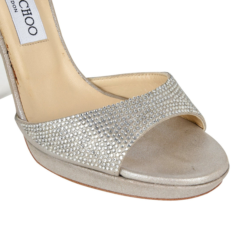 Jimmy Choo Shoe Platform Soft Silver Leather Diamantes 39 / 9  new