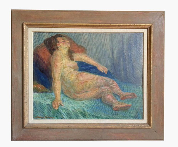 John Sloan (American 1871-1951) Signed Nude Asleep on Green Couch