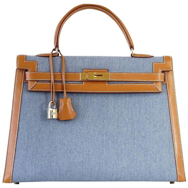 Hermes Kelly 35 Bag Vintage Denim and Barenia Sellier Gold Hardware Superb