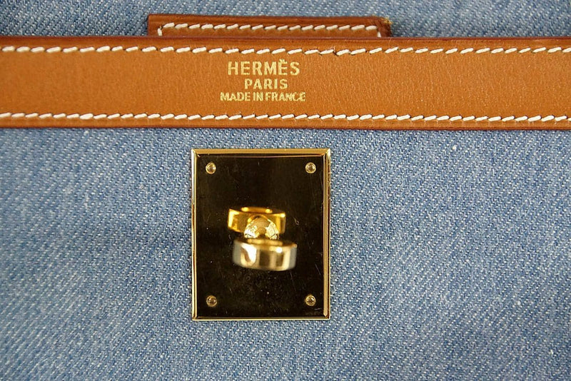 Hermes Kelly 35 Bag Vintage Denim and Barenia Sellier Gold Hardware Superb - mightychic