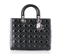Christian Dior Bag Lady Dior Black Cannage Lambskin Large NWT - mightychic