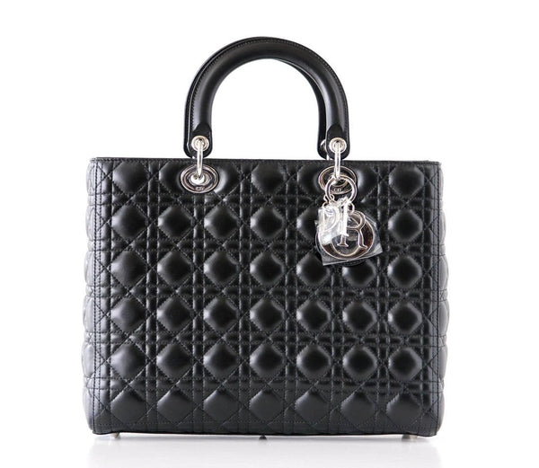 Christian Dior Bag Lady Dior Black Cannage Lambskin Large NWT
