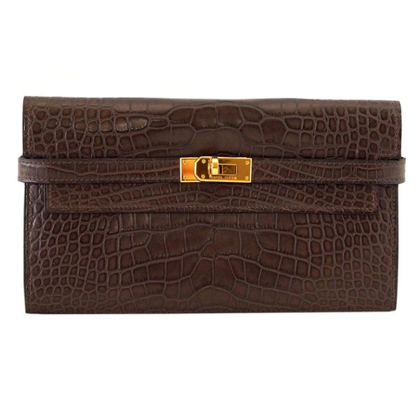 Hermes Kelly Long Wallet / Clutch Matte Havanne Alligator Gold Hardware