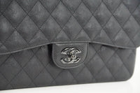 Chanel Bag Quilted So Black Jumbo Classic Double Flap Calfskin Limited Edition - mightychic