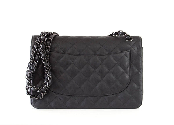 61ddff7e568a ... Chanel Bag Quilted So Black Jumbo Classic Double Flap Calfskin Limited  Edition - mightychic ...
