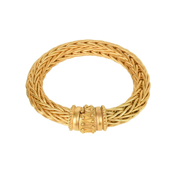 La Pepita Bracelet 18k Matte Yellow Gold Wheat Weave