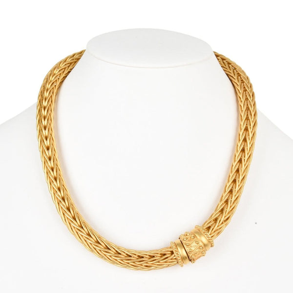 La Pepita Necklace 18K Matte Yellow Gold Wheat Weave