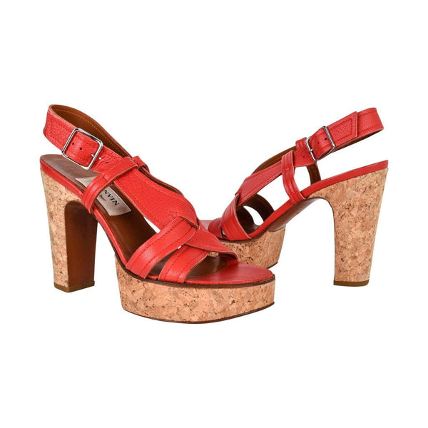 Lanvin Shoe Red Leather Cork Platform 37 / 7