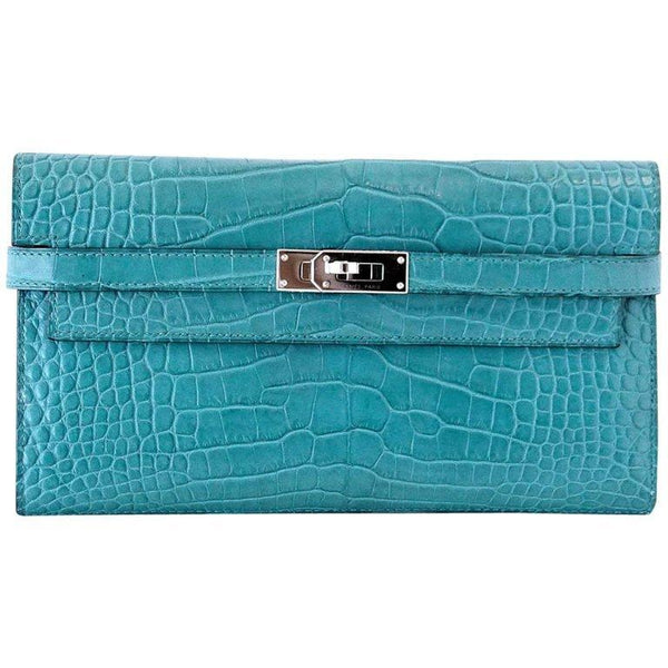 Hermes Kelly Longue Long Wallet / Clutch Blue Paon Matte Alligator PHW - mightychic