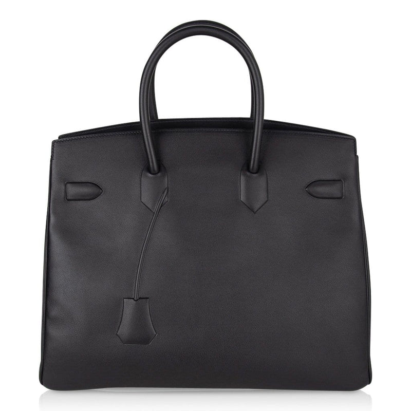 Hermes Shadow Birkin 35 Bag Limited Edition Black Swift Leather New