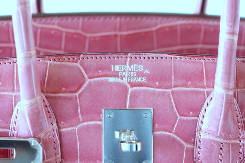Hermes Birkin 35 bag Rose Indienne Porosus Crocodile Palladium Very Rare - mightychic