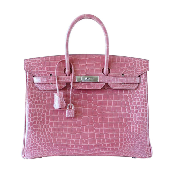 Hermes Birkin 35 bag Rose Indienne Porosus Crocodile Palladium Very Rare