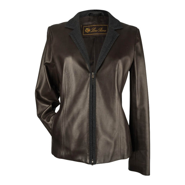 Loro Piana Jacket Dark Brown Leather Zip Front 44 / 8