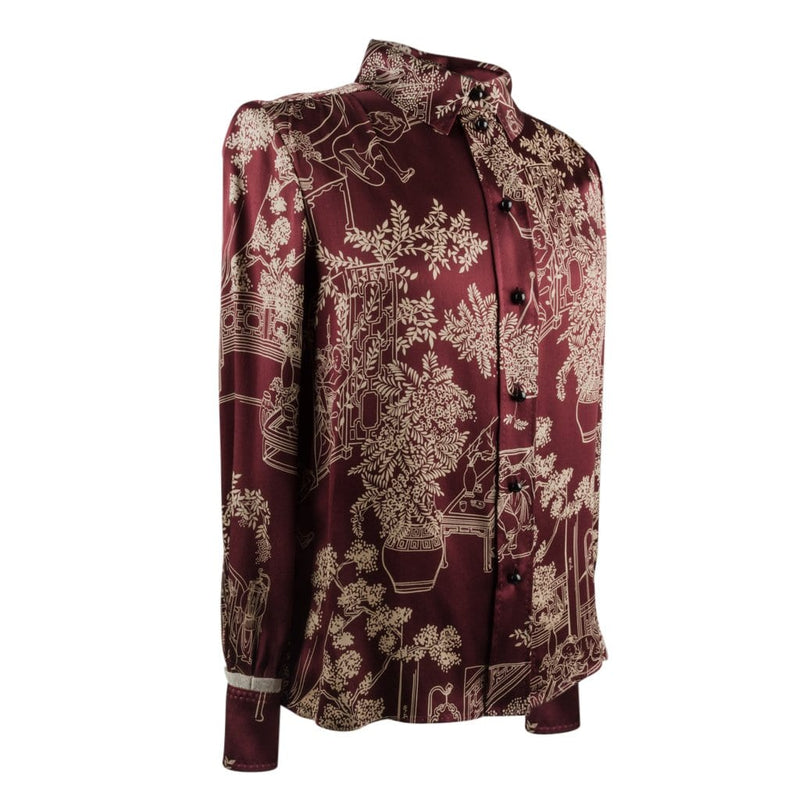 Louis Vuitton Blouse Asian Print Lace Detail SO Charming 34 / 4 - mightychic