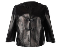 Louis Vuitton Jacket Black Leather Jeweled Buttons Floral Lining 42 / 8 - mightychic