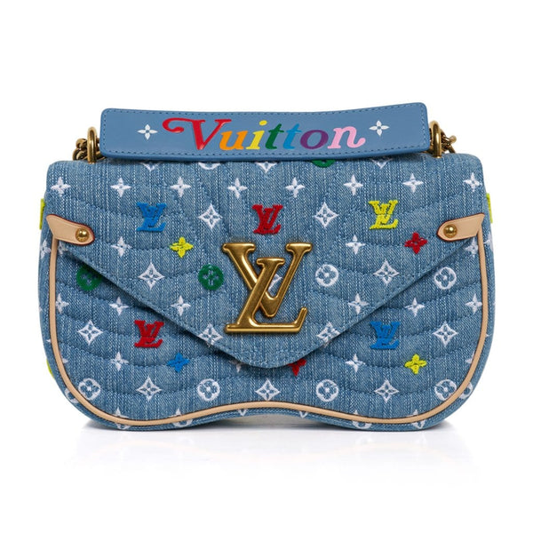 Louis Vuitton New Wave Chain Shoulder Bag Embroidered Monogram Denim New