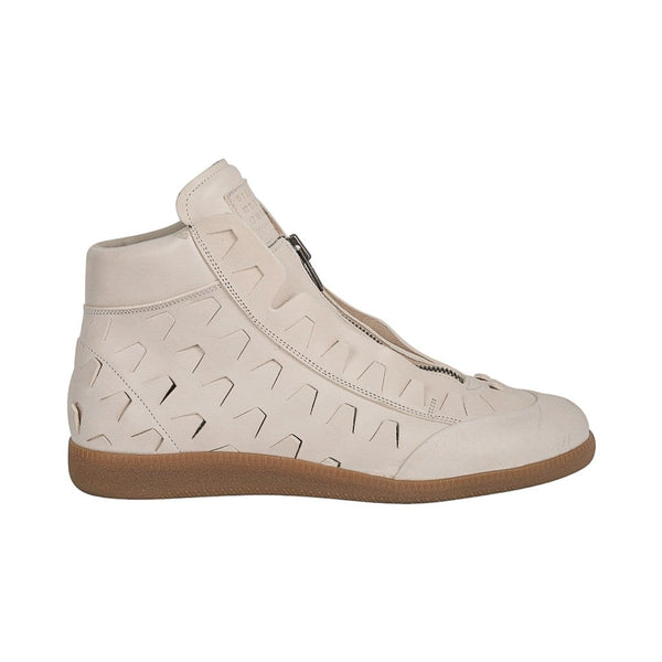 Maison Martin Margiela Men's Replica Leather High Top Sneaker in Bone 44 / 11