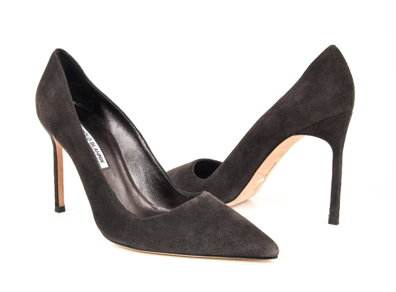 Manolo Blahnik Shoe Charcoal Gray Suede Pump 40 / 10 New - mightychic