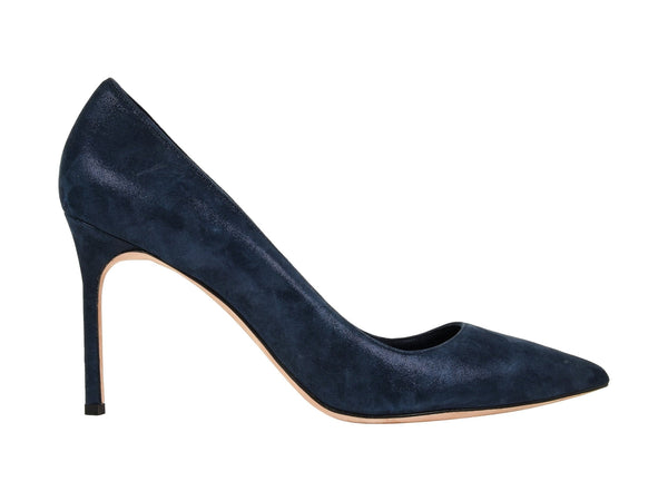 Manolo Blahnik Shoe Navy Blue Coated Suede Pump 40.5 / 10.5