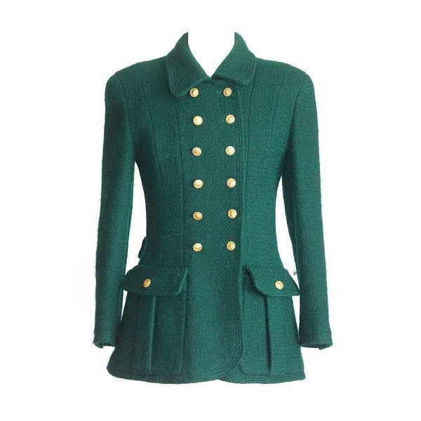 Chanel Jacket Rich Green Heaps Gold CC Buttons Vintage fits 40 / 6