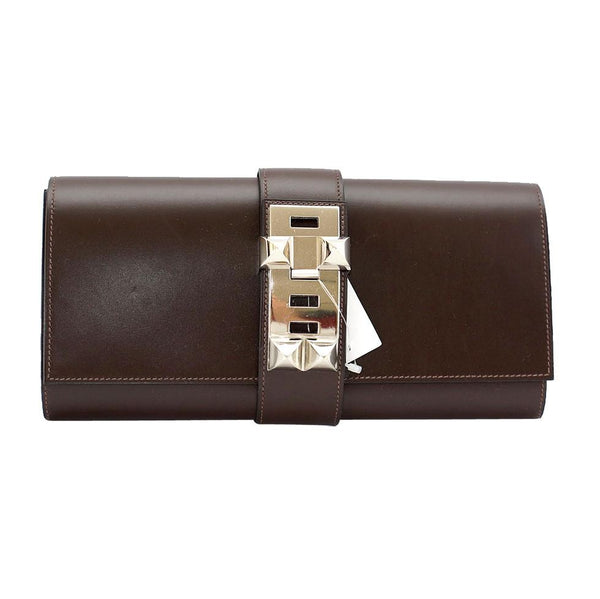 Hermes Medor Clutch Bag Chocolate Box Leather Palladium