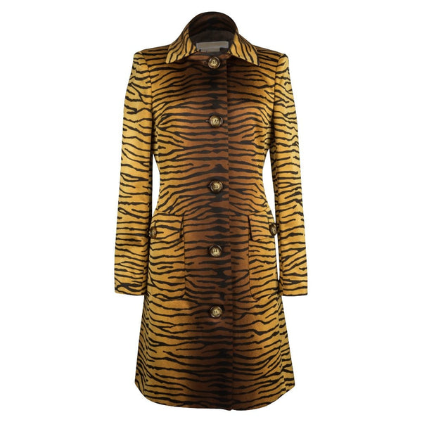 Michael Kors Coat Rich Golden Tiger Animal Print  8