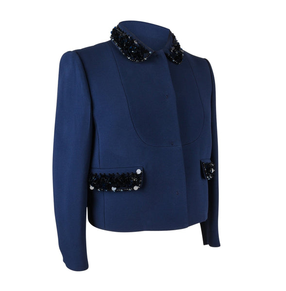 Miu Miu Jacket Navy Embellished Collar / Pockets 3/4 Sleeve 42 - mightychic