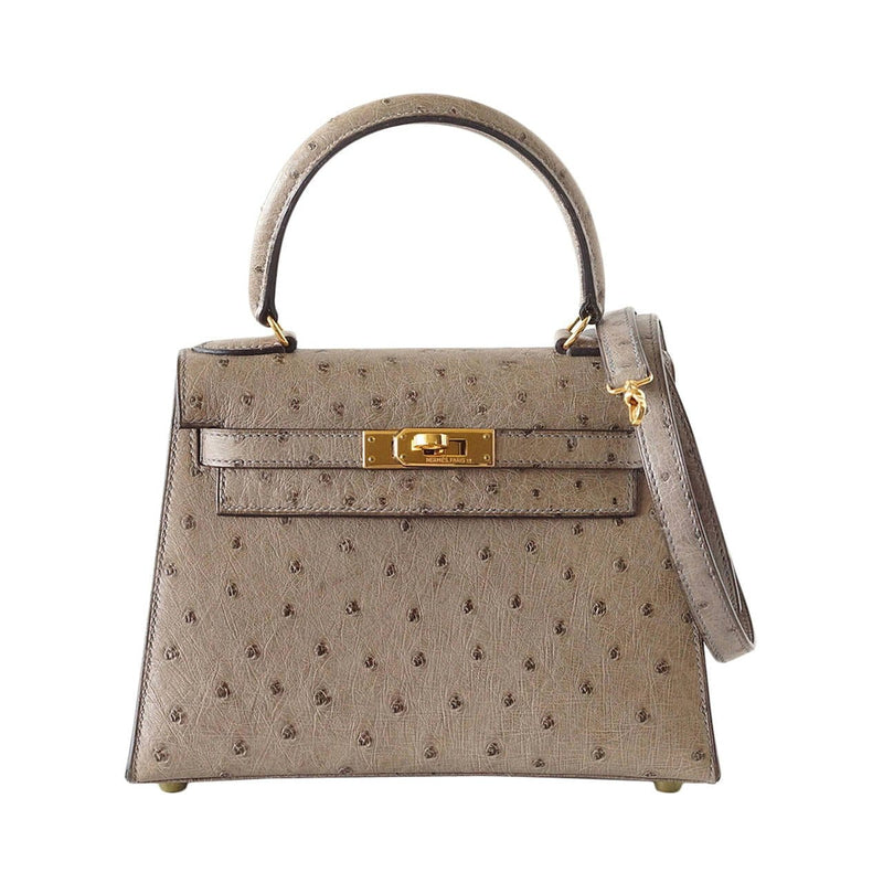 Hermes Kelly 20 bag Vintage Gray Ostrich Mini gold hardware mint - mightychic