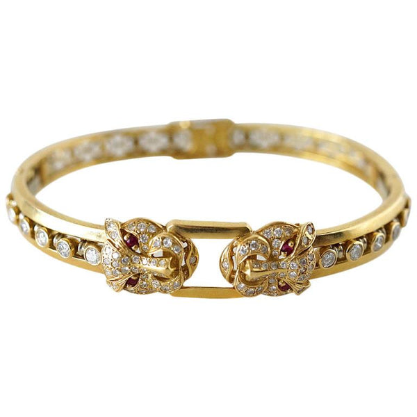 Bracelet 18K Yellow Gold Diamonds Rubies Panther Face