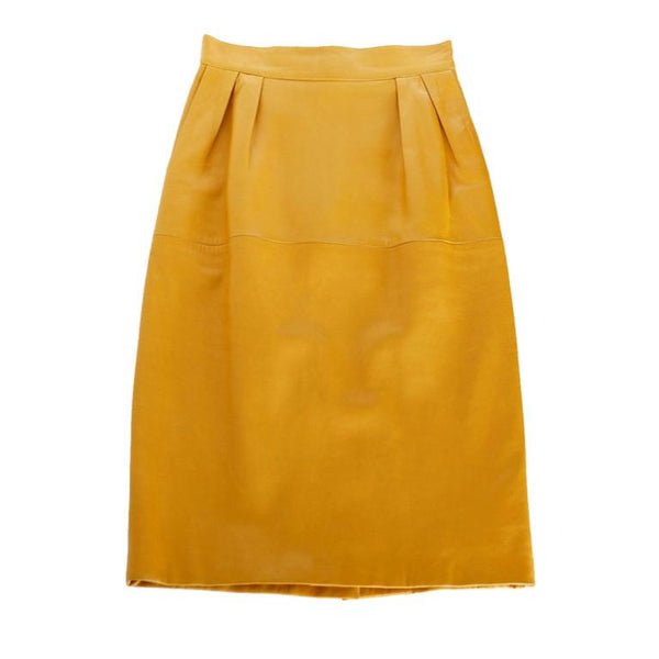 Hermes Skirt Pigskin Leather Golden Mustard Vintage Fits 4 to 6 Soft and Supple - mightychic