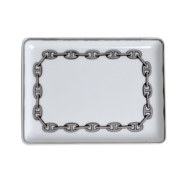 Hermes Chaine D'Ancre Platinum Tray Sushi Plate Porcelain - mightychic