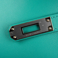 Hermes Kelly Cut Vert Verone Clutch Bag Swift Palladium