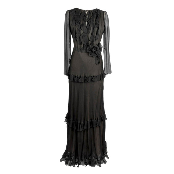 Oscar de la Renta Dress Black Silk Chiffon Gown Ruffles Flower Pins