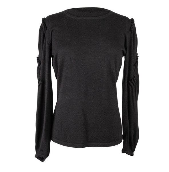 Oscar de la Renta Top Sweater Black Cashmere Silk Ruffle Detail  L