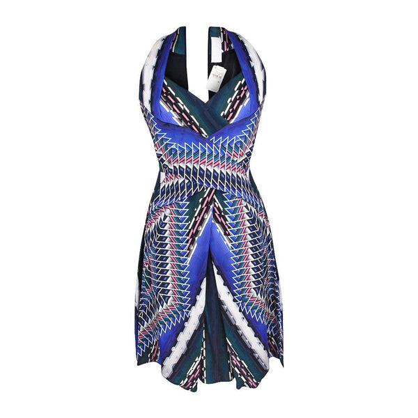Peter Pilotto Dress Vivid Print Halter Style Silk 6 nwt