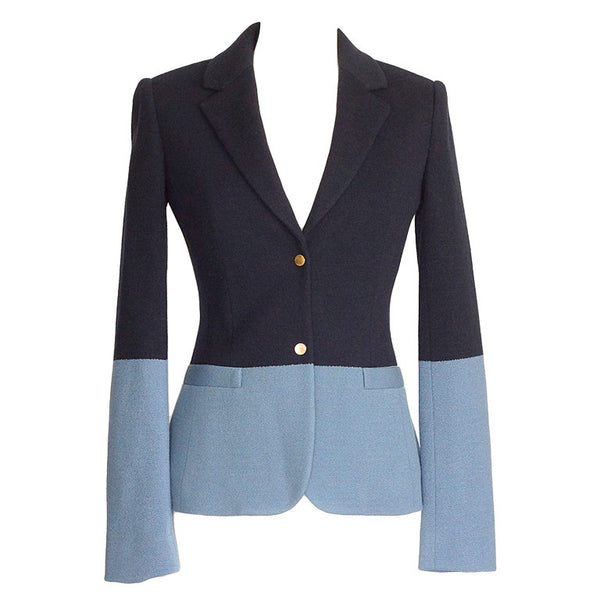 The Row Jacket Rich Navy and Slate Blue Single Breast 4  new