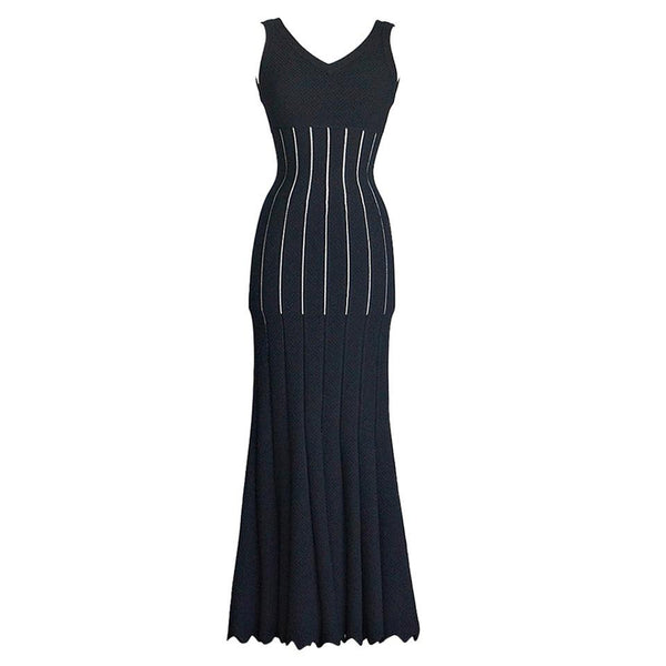 Azzedine Alaia Dress Stunningly Beautiful Black Floor Length 38 / 4 nwt