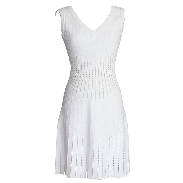 Azzedine Alaia Dress White Superbly Detailed Perforated Soft Skater 40 / 6  nwt