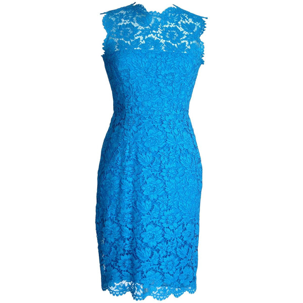 Valentino Dress Dignature Lace Vivid Blue Rear Bows  6  nwt