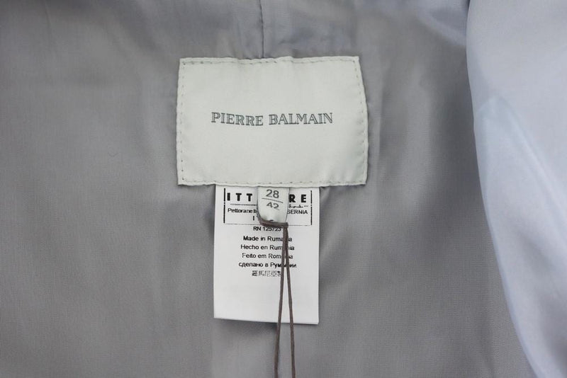 Pierre Balmain Jacket Ice Silver Light Weight Leather  42 / 8 nwt - mightychic