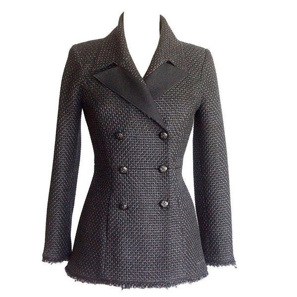 Chanel Jacket Black Silver Metallic Tweed Camellia Buttons 40 / 6