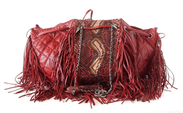 85028cbc94c1 Chanel Bag Dallas Collection Drawstring Fringe Snakeskin Accent