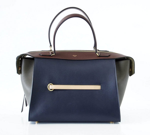 Celine Bag The Ring Tri Colour Navy Brown Olive Small New