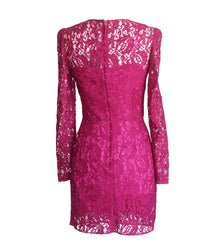 Dolce&Gabbana Dress Rich Hot Pink Lace Long Sleeve 42 / 6  nwt - mightychic