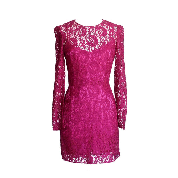 Dolce&Gabbana Dress Rich Hot Pink Lace Long Sleeve 42 / 6  nwt