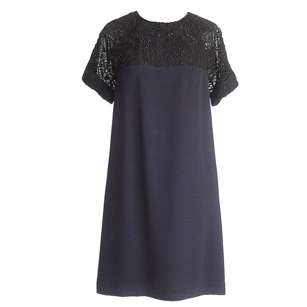 Louis Vuitton Dress Black Monogram Lace 36 / 4 nwt - mightychic
